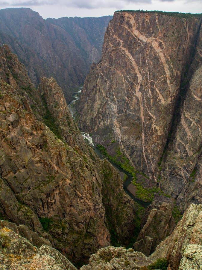 峡谷视图,被绘的墙壁, Gunnison的黑峡谷,科罗拉多 库存照片