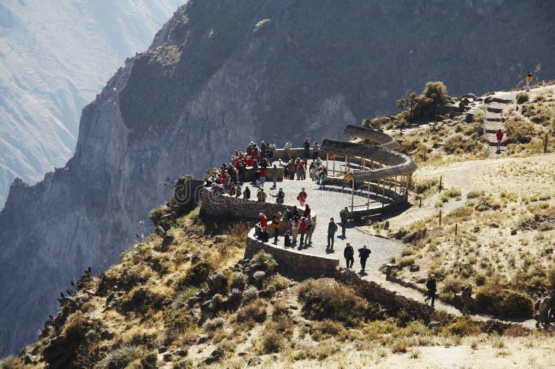 峡谷colca概览秘鲁 免版税库存照片