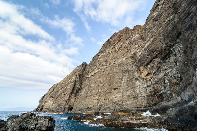 峭壁在戈梅拉岛海岛,加那利群岛 库存照片