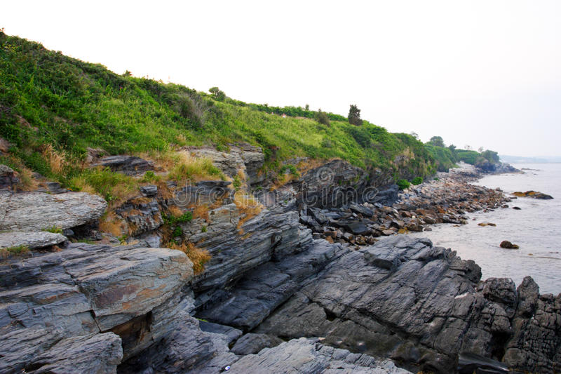 峭壁步行-纽波特,罗德岛州 库存图片