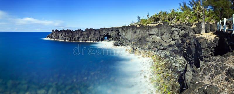 峭壁海岛留尼汪岛 免版税库存照片