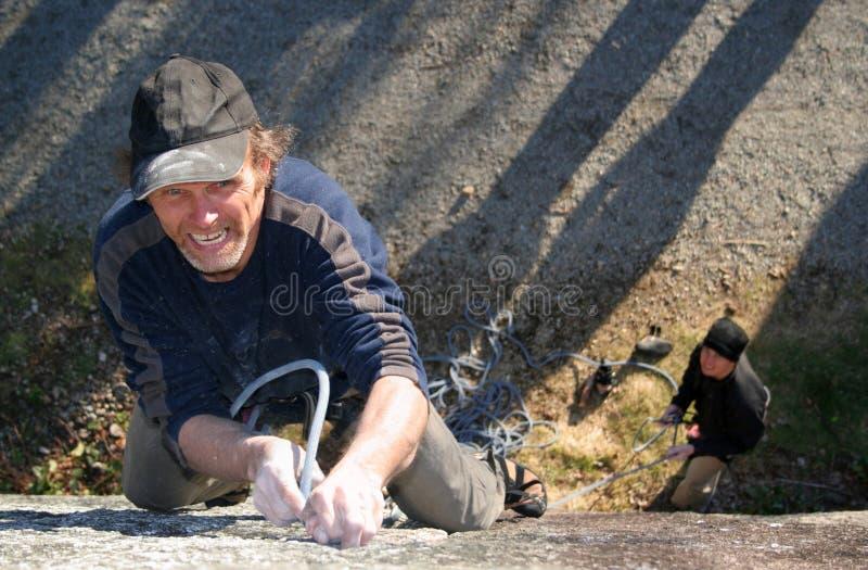 峭壁登山人表面岩石 库存照片