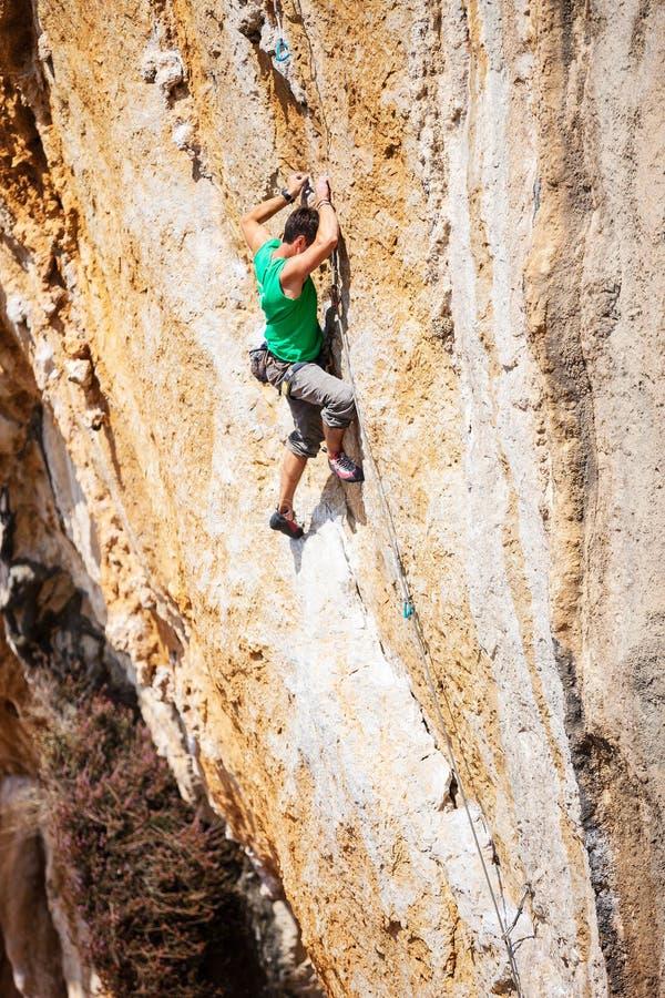峭壁的攀岩运动员 免版税库存照片