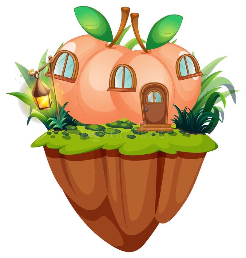 峭壁的桃子房子 向量例证