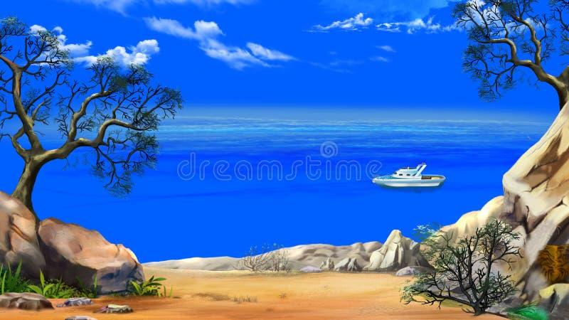 从峭壁的海视图在与游艇的一个晴天 向量例证