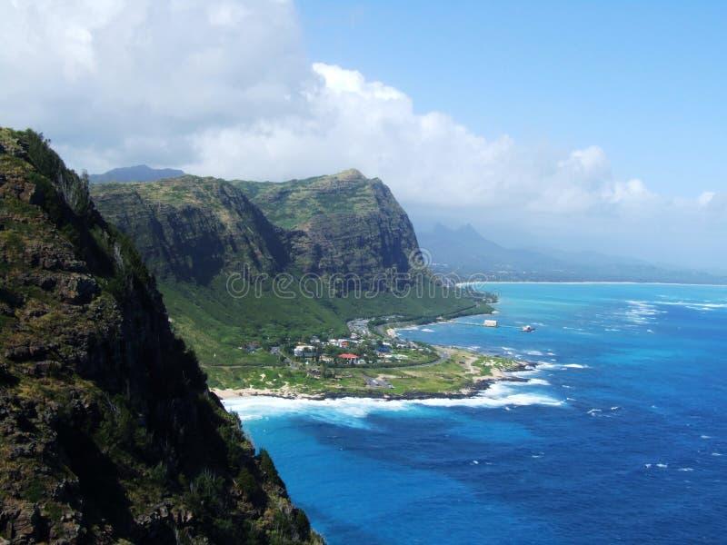 峭壁看法从Makapuu点监视,奥阿胡岛,夏威夷的 免版税库存图片