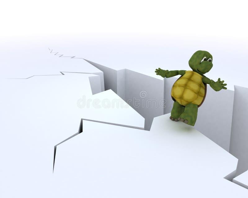 峭壁边缘草龟 向量例证