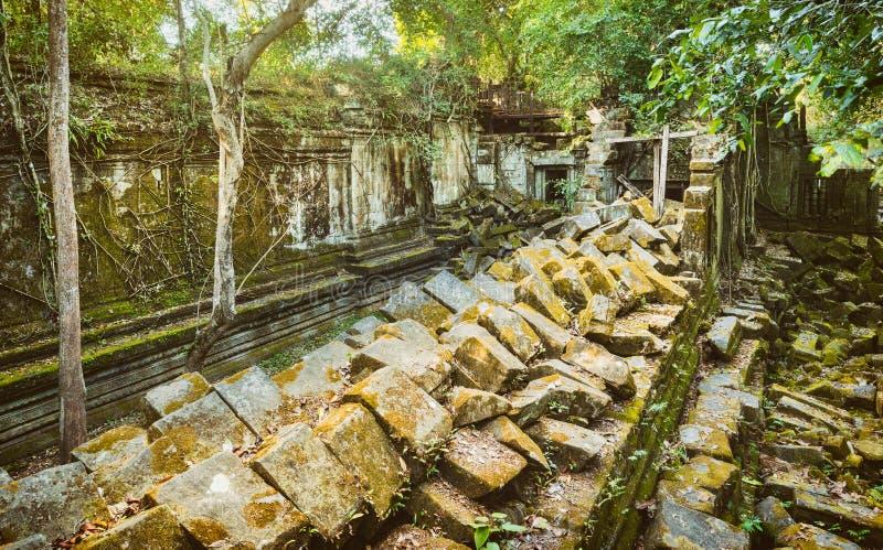 崩山大仑Mealea或桶盖Mealea寺庙 angkor banteay柬埔寨湖lotuses收割siem srey寺庙 柬埔寨 全景 免版税库存照片