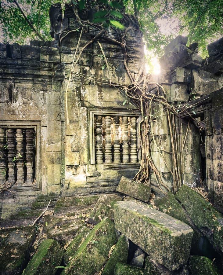 崩山大仑Mealea或桶盖Mealea寺庙 angkor banteay柬埔寨湖lotuses收割siem srey寺庙 柬埔寨 图库摄影