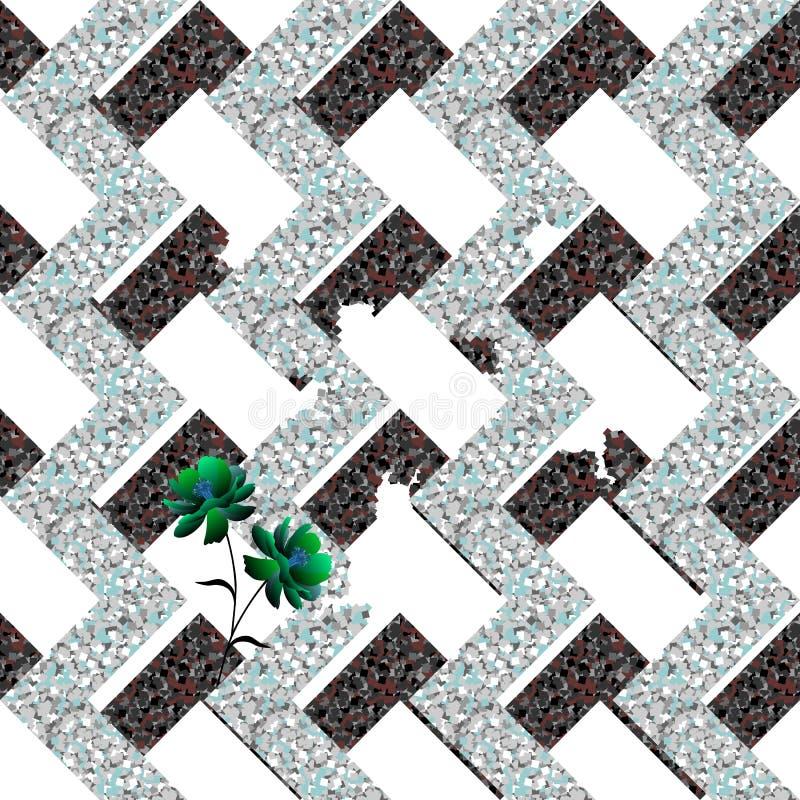 崩溃的金属抽象迷宫和小嫩绿色花在白色背景 模式无缝的向量 库存例证