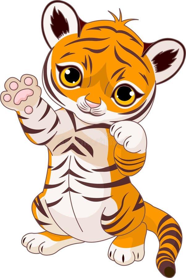 崽逗人喜爱的嬉戏的老虎 向量例证