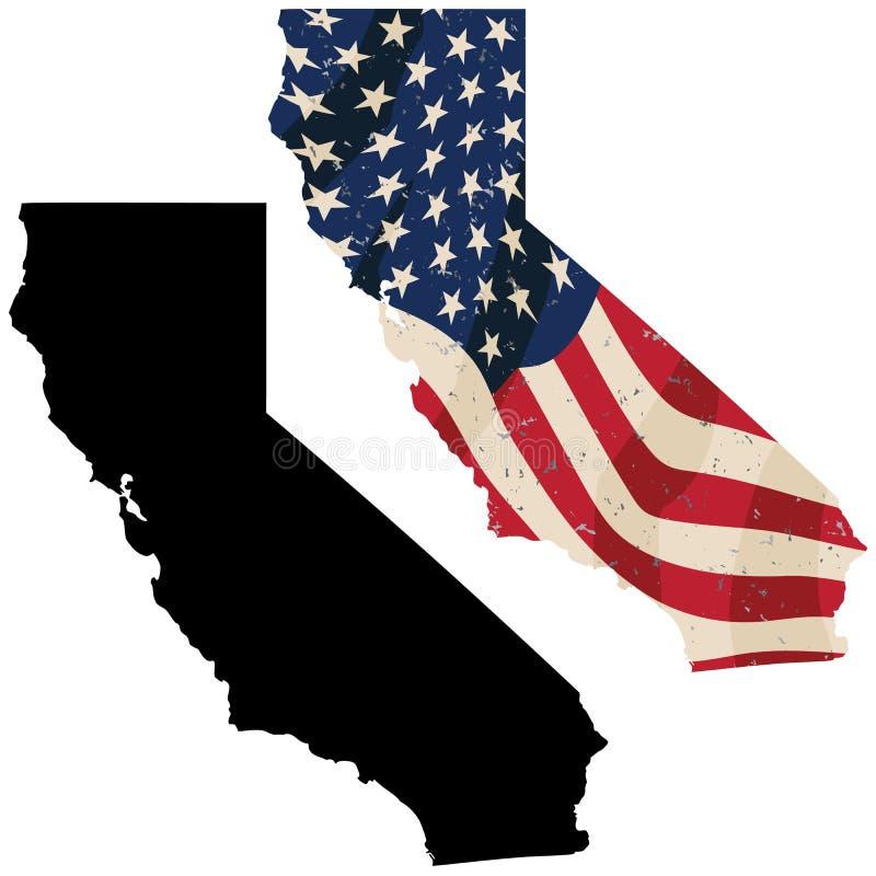 嵌入陈旧美国国旗和黑色侧面影像孤立矢量图的加利福尼亚州 图库摄影