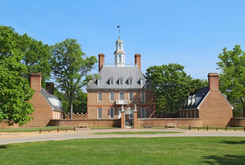 州长宫殿大厦在殖民地威廉斯堡,弗吉尼亚 免版税库存照片