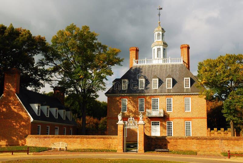 州长宫殿殖民地居民威廉斯堡 免版税库存照片