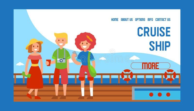 巡航划线员船旅行横幅网络设计传染媒介例证 在船的家人standig 旅游在夏天 库存例证