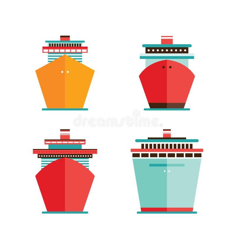 巡航划线员船象集合海海洋旅行假期概念 库存例证