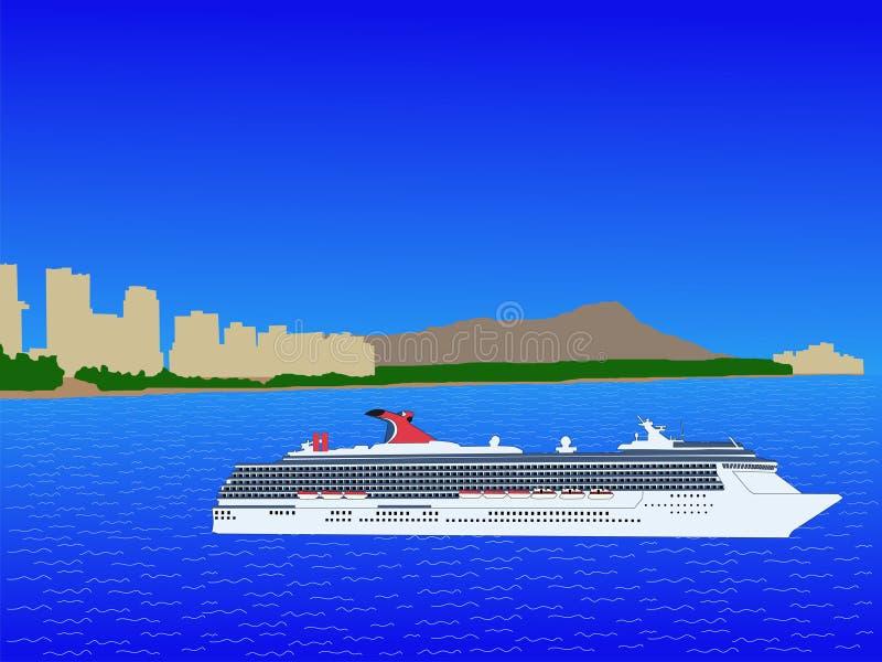 巡航夏威夷船waikiki 库存例证
