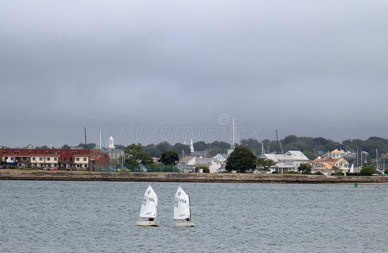 巡航的风船Narragansett海湾水  库存图片