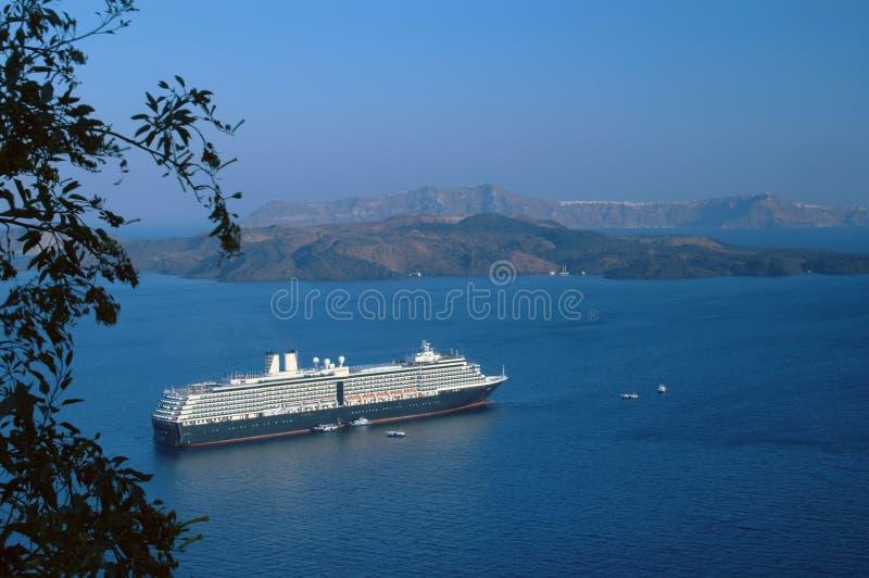 巡航santorini船 库存照片