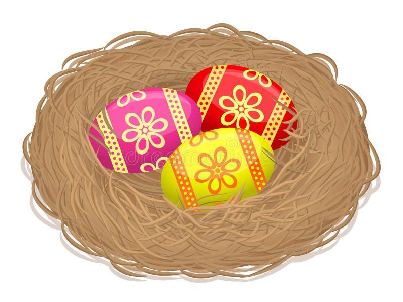 巢用复活节彩蛋-例证 免版税图库摄影