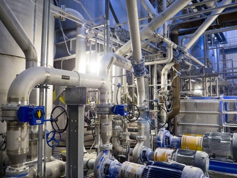 工业不锈钢管道系统 免版税库存照片