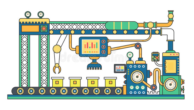 工业传送带机器和制造机械工厂平的线导航例证 向量例证