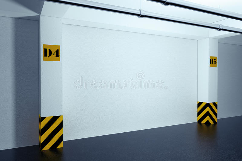 工业内部概念 倒空地下停车库 3 向量例证