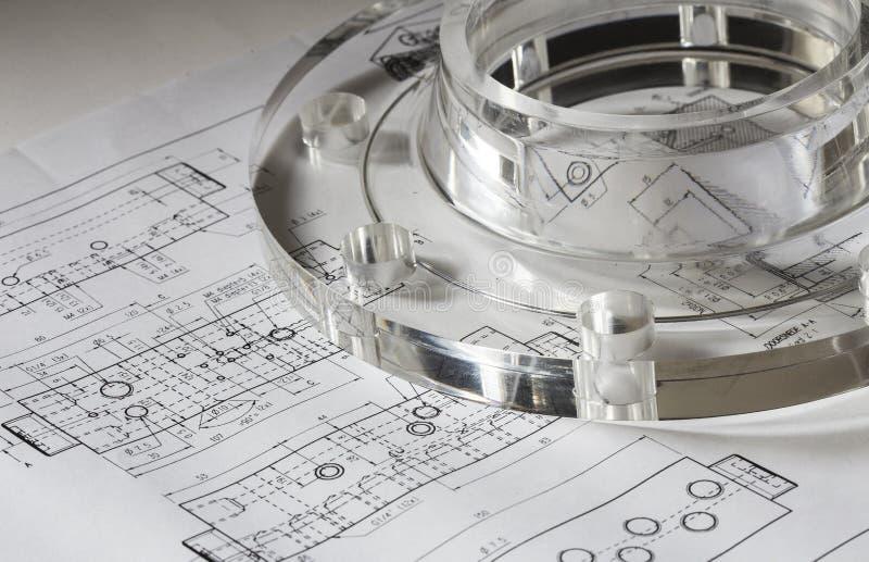 工业塑料丙烯酸酯的耳轮缘螺栓 库存照片