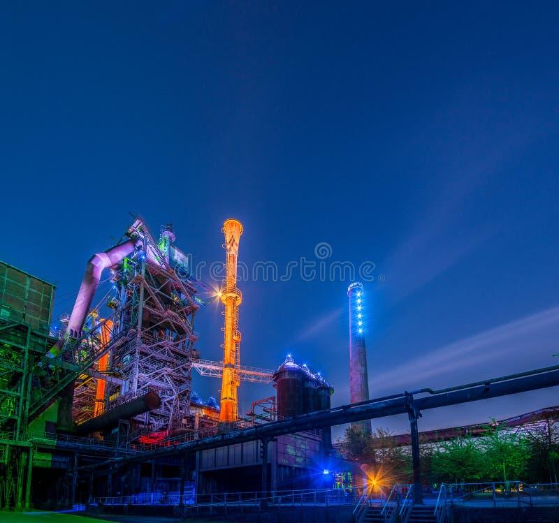 工业夜画象 库存图片