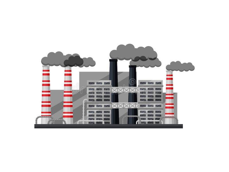 工业工厂外部有大厦的,烟斗 大冶金植物 平的传染媒介设计 向量例证