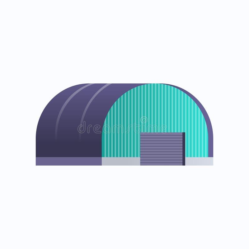 工业建筑仓库挂库标志工厂生产配送货物或仓储概念白背景平面 向量例证