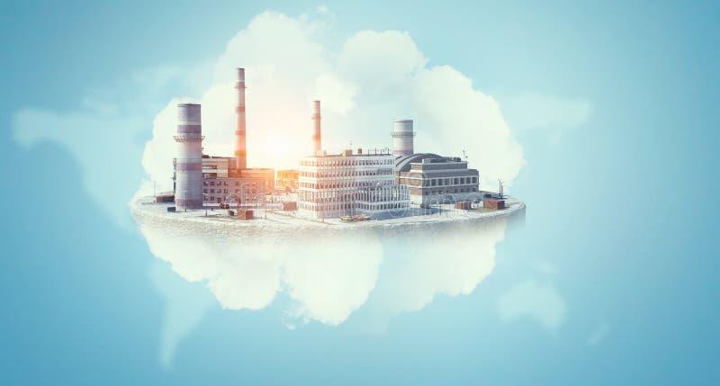 工业建筑的概念 混合画法 免版税库存照片