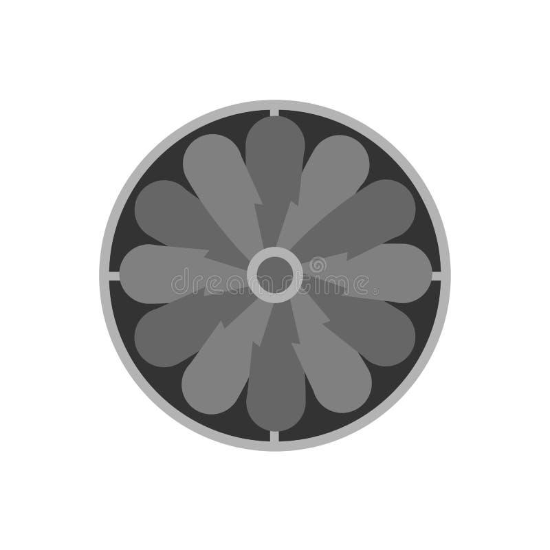 工业排气扇设计被隔绝的白合金对象平的标志 家庭元素压缩机温度 向量例证
