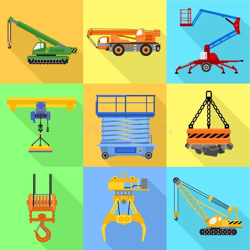 工业推力机器象集合,平的样式 库存例证