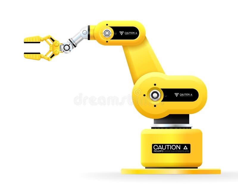 工业机器机器人手臂间的机械工厂 向量例证