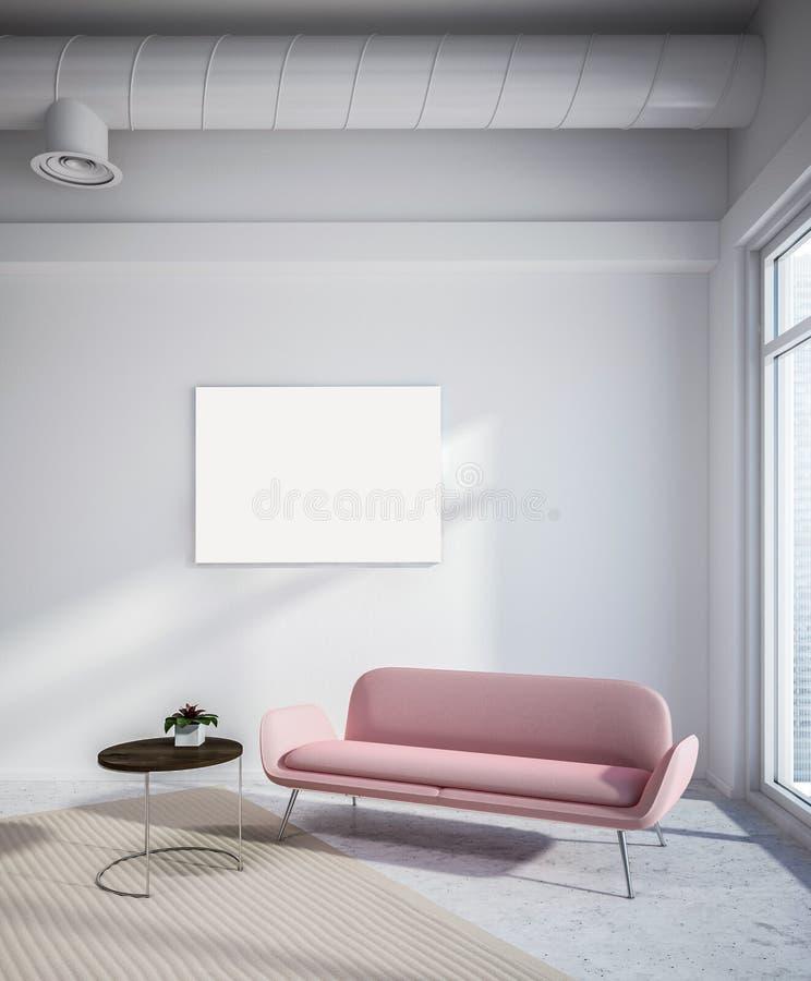 工业样式客厅,桃红色沙发,海报 库存例证