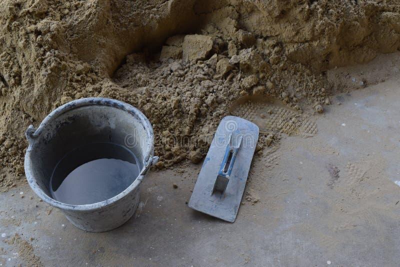 工业混合的水泥和的沙子 免版税库存图片