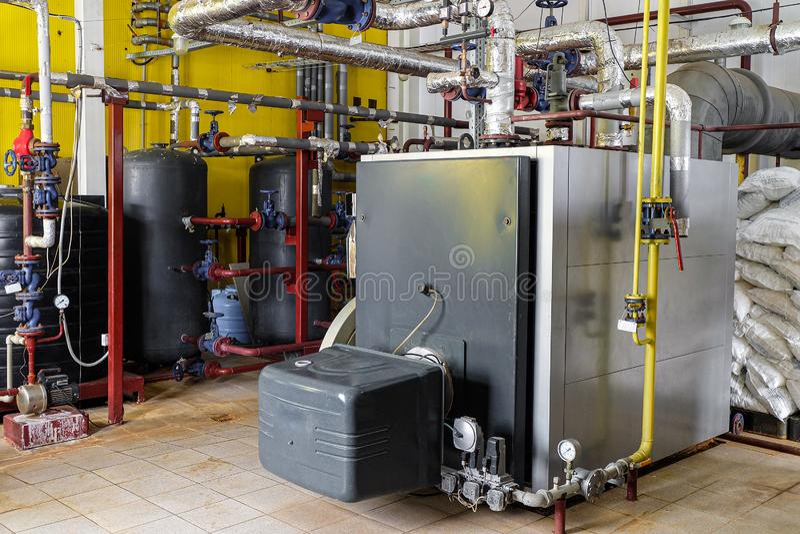 工业燃气锅炉在锅炉室 库存图片