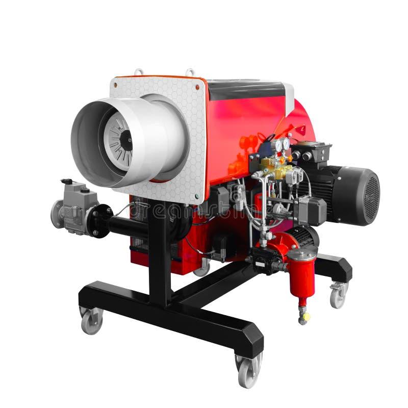工业现代流动红色高科技燃气锅炉的瓦斯炉在白色背景上铜隔绝 免版税库存图片