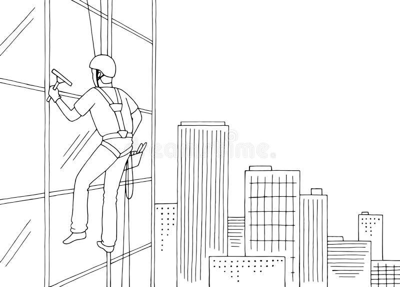 工业登山人洗涤的窗口摩天大楼图表黑白色都市风景剪影例证传染媒介 库存例证