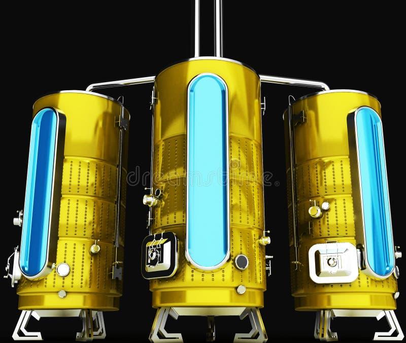 工业目的金属桶 生产和存贮的容量 3d启动迷信例证皮革 皇族释放例证
