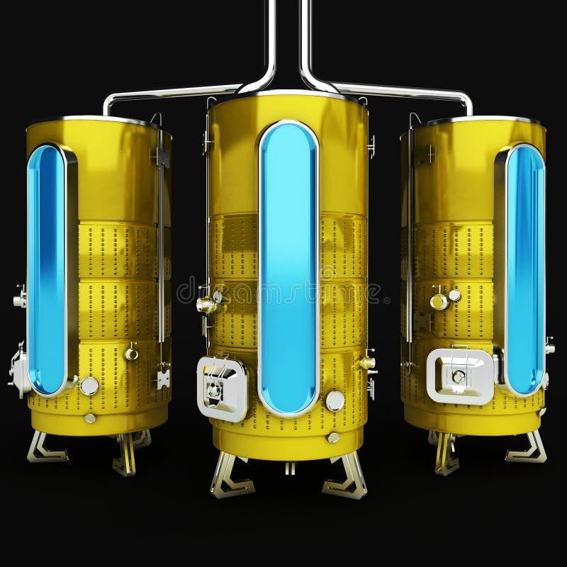 工业目的金属桶 生产和存贮的容量 3d启动迷信例证皮革 库存例证