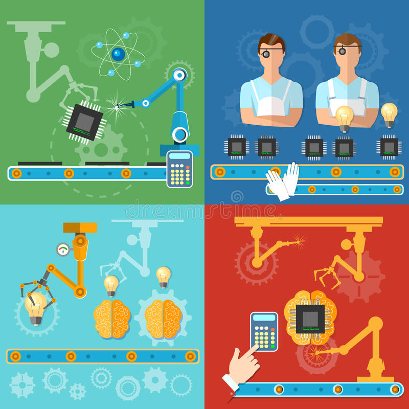 工业自动化的现代技术装配线过程 皇族释放例证
