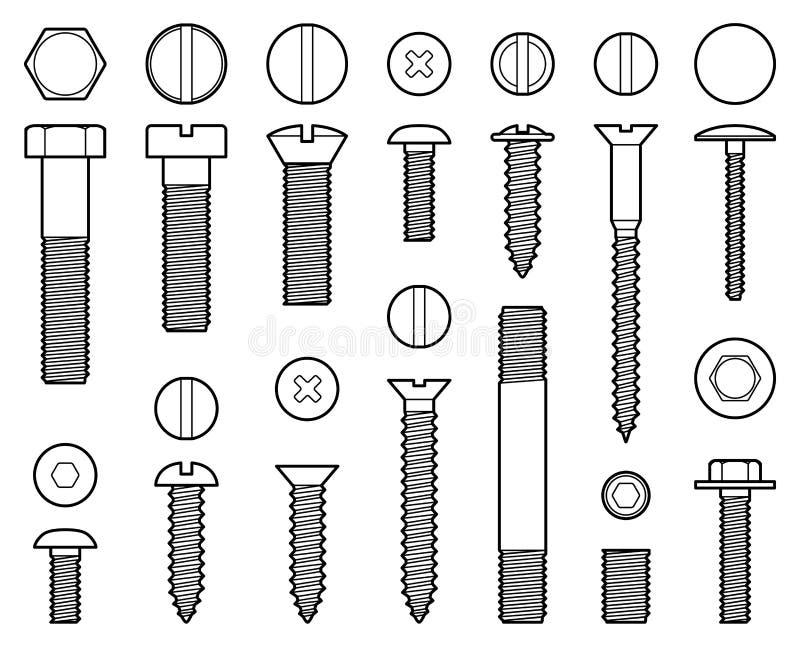 工业螺杆、坚果和钉子排行传染媒介象 库存例证