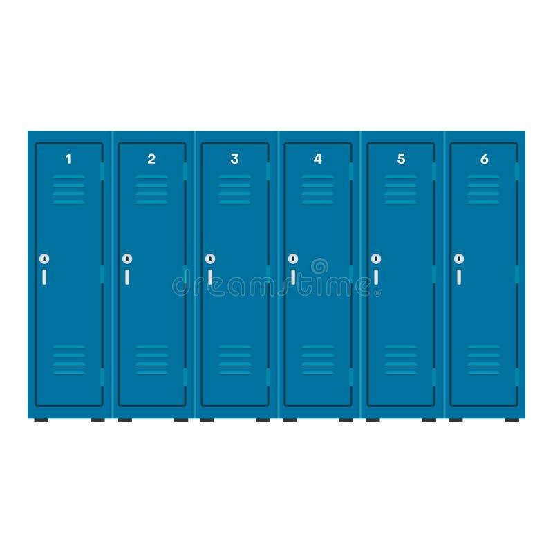 工业衣物柜蓝色传染媒介象安全内阁 室存贮商业金属箱子 关键单独碗柜平的家具 库存例证