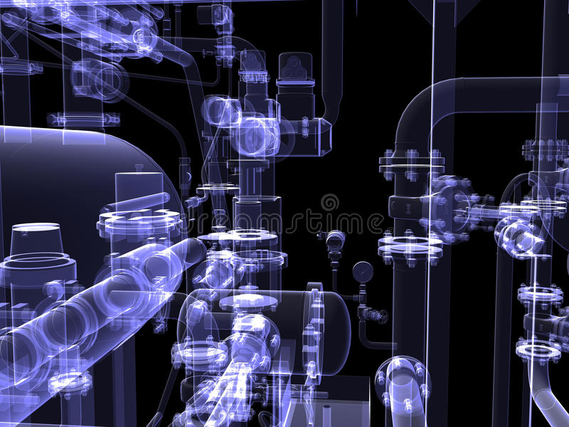 工业设备。X-射线回报 向量例证