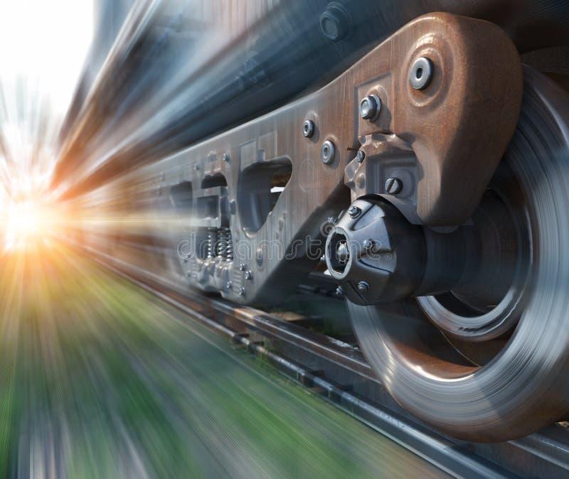工业路轨火车转动特写镜头技术透视概念性背景 免版税库存照片