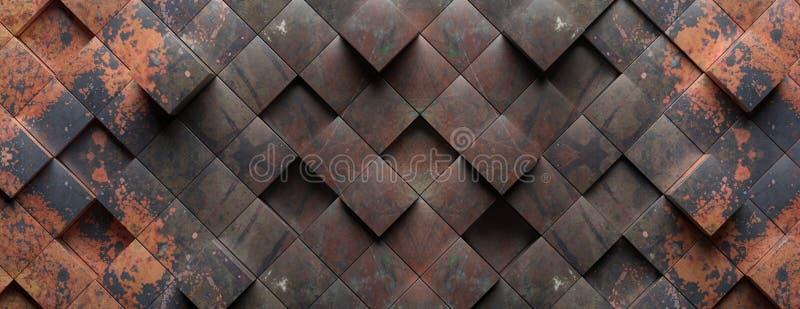 工业金属生锈的背景纹理,立方体形状元素样式 3d?? 免版税库存照片