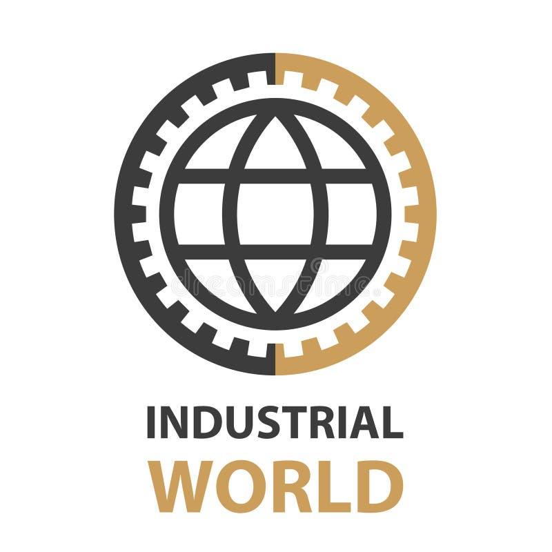 工业齿轮世界简单的标志传染媒介 免版税库存图片