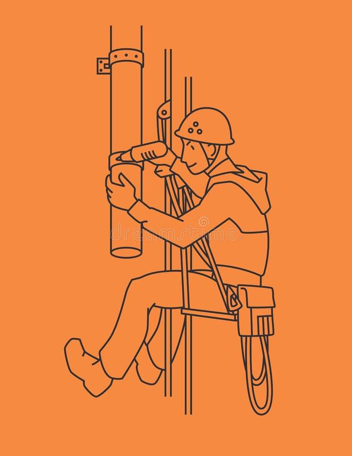 工业登山人修理排水管 绳索通入 向量 皇族释放例证